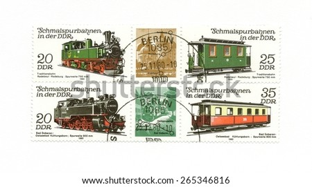 DDR 1980: Postage stamps on the theme railways, old Germany locomotives , about 1980. Illustrative Editorial. - stock photo
