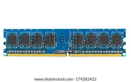 DDR RAM memory module isolated on white background with clipping path - stock photo