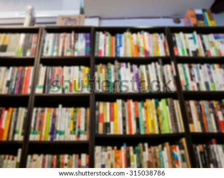 De focused/Blurred image of a book store. Bookstore background. - stock photo
