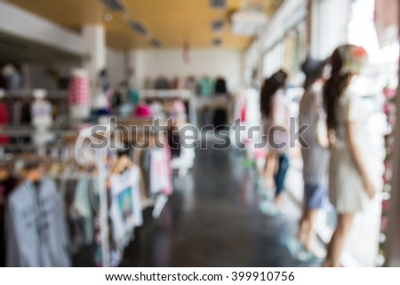 De focused/ Blurred image of a dress store