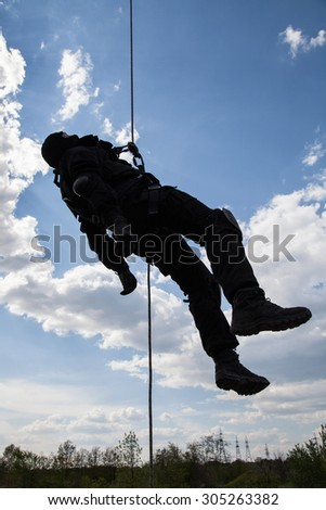 Dead body of special forces operator killed during a special operation - stock photo
