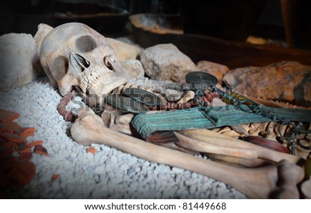 Dead Celtic man in grave. Hallstatt, Austria, Europe. - stock photo