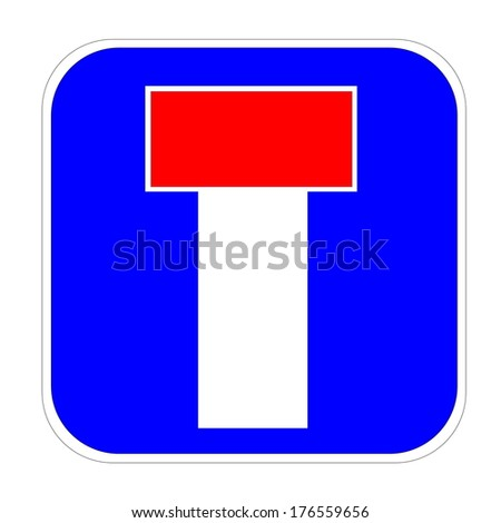 Dead end / no through road traffic sign in white background - stock photo