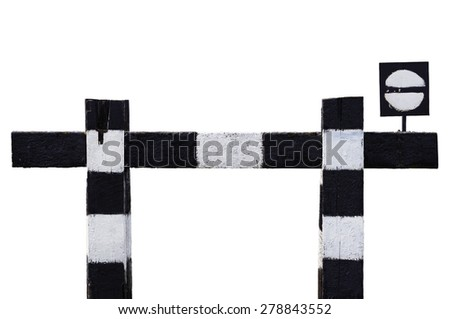 Dead end no through train railroad traffic sign, isolated weathered old grungy trains railway stop symbol signal signage, black and white striped retro barrier, large detailed closeup - stock photo