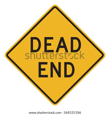 Dead End Sign isolated on white background. - stock photo