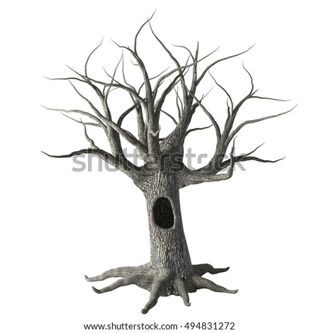 Dead Halloween tree with hollow trunk, long bare branches and roots, isolated on white background. 3D illustration.