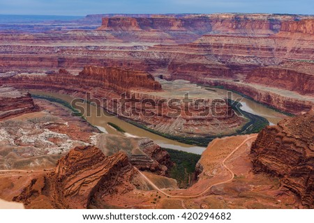Dead Horse Point National scenic landscape view red rock - stock photo