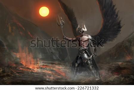 dead knight or fallen angel - stock photo