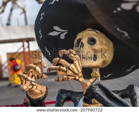 Dead mariachi, Dia de los muertos, Day of the dead in Mexico - stock photo