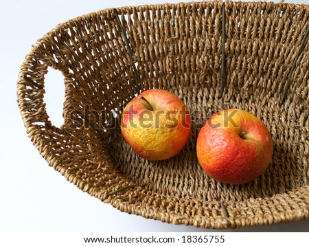 Dead nature represent with two old apples. - stock photo