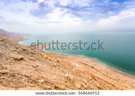 Dead sea coast at twilight, Israel, Middle East - stock photo