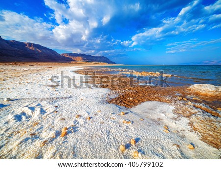 Dead Sea coastline - stock photo