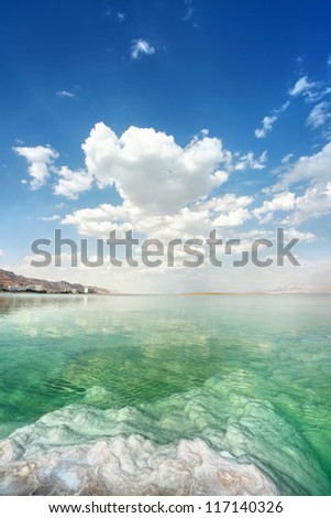 Dead Sea landscape on a summer day - stock photo