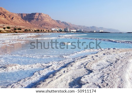 Dead Sea - natural phenomenon. Salt on coast and in water.
