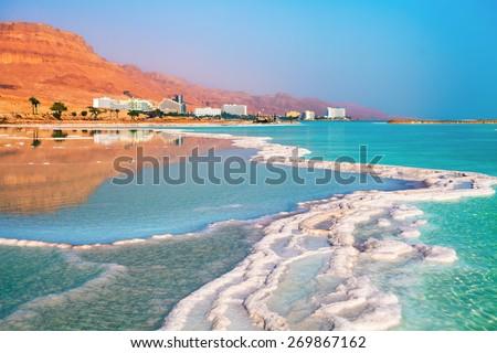 Dead sea salt shore. Ein Bokek, Israel - stock photo