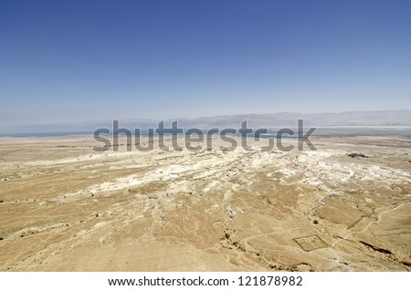 Dead Sea view from Masada, lowest place on the earth. - stock photo