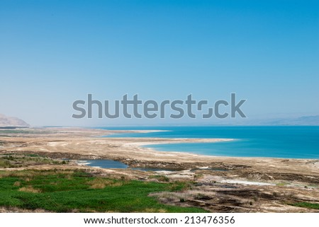 Dead sea view from the hill - stock photo