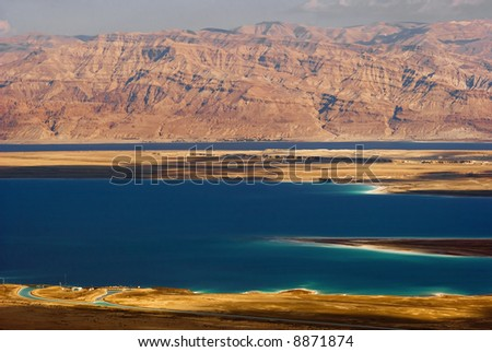 Dead sea view of ancient city Masada