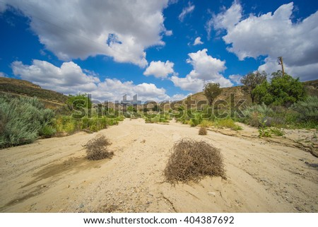 Dead tumbleweeds sit in the sand of a dry riverbed in American southwest. - stock photo