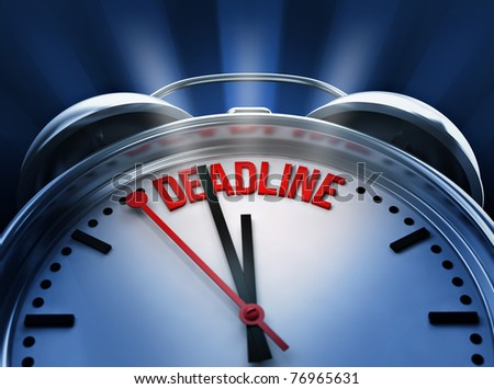 Deadline clock - stock photo