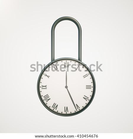 Deadline concept with closed clock lock on light background. 3D Rendering - stock photo