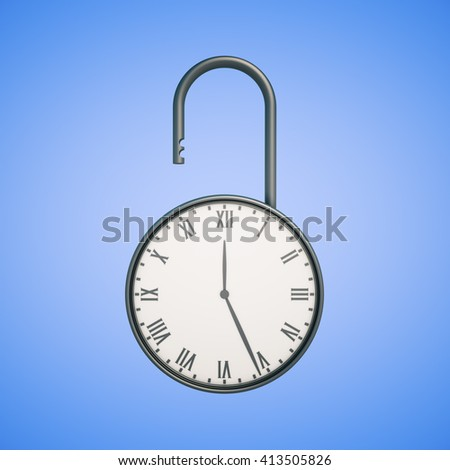 Deadline concept with open clock lock on blue background. 3D Rendering - stock photo