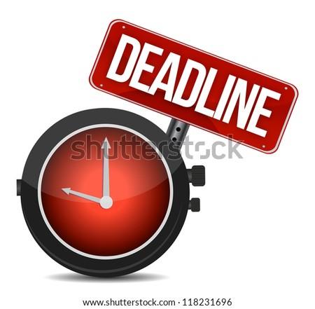 deadline watch sign illustration design over white - stock photo