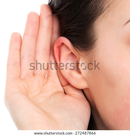 Deaf woman ear - stock photo