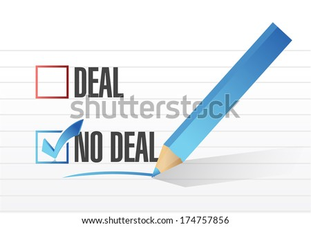 deal no deal check mark selection illustration design over a white background