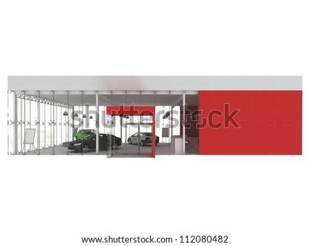 dealer and automobile showroom pavilion. building design, architecture project - stock photo