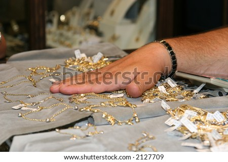 Dealing the gold - stock photo