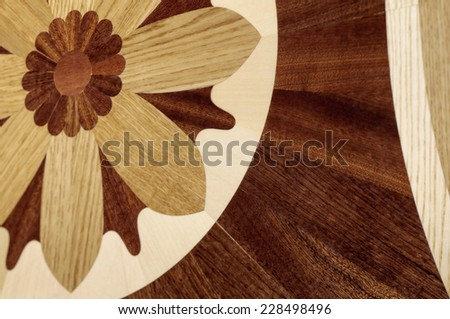Dear multicolored parquet hardwood inlaid beautiful pattern - stock photo