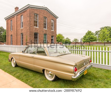 DEARBORN, MI/USA - JUNE 20, 2015: A 1962 Ford Falcon car at The Henry Ford (THF) Motor Muster, held at Greenfield Village. - stock photo