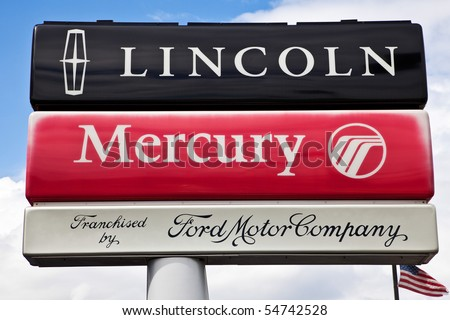 DEARBORN, MICHIGAN - JUNE 2: Ford Motor Company announces the end of the Mercury brand after 71 years. Production of Mercury will stop at the end of 2010. June 2nd 2010 Dearborn, Michigan - stock photo