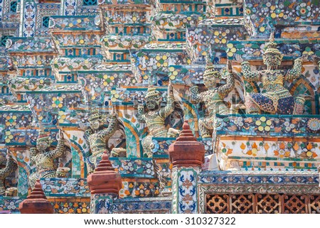Deatail of the Central Pagoda at Wat Arun - the Temple of Dawn in Bangkok - stock photo