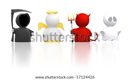 Death, an Angel, the Devil and a Ghost as icon characters. Could be used for religious concepts, halloween, humour, costume party. Use together or cut apart. - stock photo