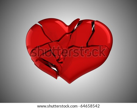 Death and illness. Red Broken Heart over grey background - stock photo