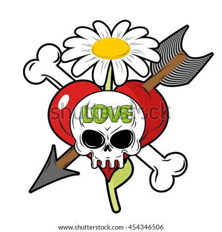Death and love. Skull and red heart. Sign for tattoos. Chamomile and bone. Cupids arrow. Logo for lovers. Logo for Valentines day. - stock photo