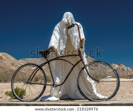 Death by bicycle in the desert, sculpture, Death Valley, National Park, California, USA - stock photo