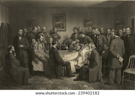 Death of Lincoln on April 15, 1865 in a commemorative print by A.H. Ritchie, made in 1875, presenting an idealized scene with cabinet members, prominent politicians, and military leaders.