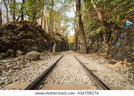 Death Railway, Old railway at Hellfire pass, Kanchanaburi, Thailand - stock photo