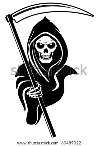 Death sign isolated on white for tattoo design. Vector version also available in gallery - stock photo