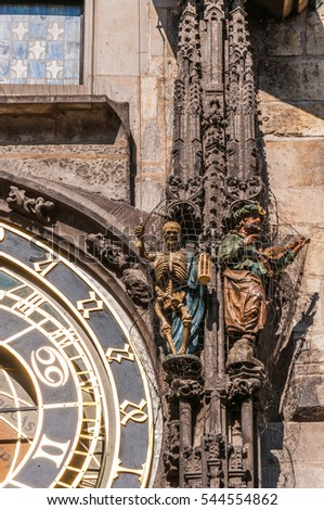 Death (skeleton) and Turk figures on Prague Astronomical Clock