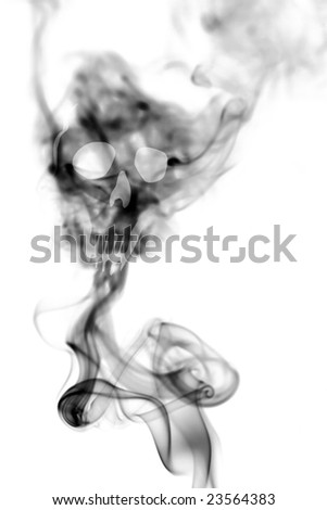 Death skull made with cigarette smoke isolated on white background - stock photo