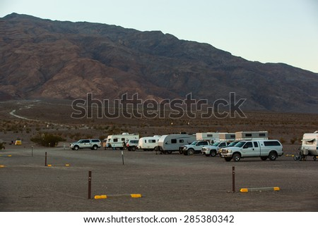 Death Valley National Park - February 9 2015: parked campers at Stovepipe Wells Campground, Death Valley National Park, CA