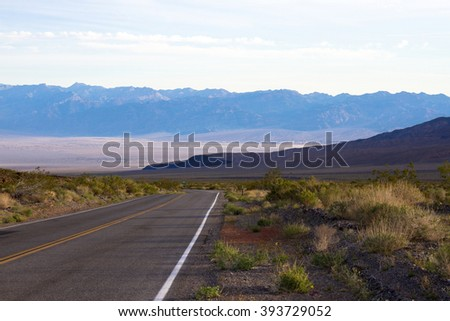 Death Valley National Park scenic drive at dawn - stock photo