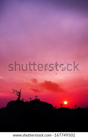 Death valley : Twilight landscape cemetery                                - stock photo