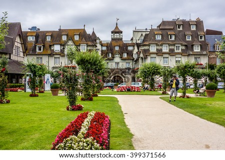 DEAUVILLE, FRANCE - JULY 18, 2012: City view of Deauville. Deauville is a commune in Calvados department in the Basse - Normandie region in northwestern France near the Channel. - stock photo