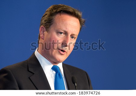 DEAUVILLE, FRANCE - MAY 27, 2011 : British Prime Minister David Cameron in press conference  during G8 - Deauville, France on May 27 2011 - stock photo