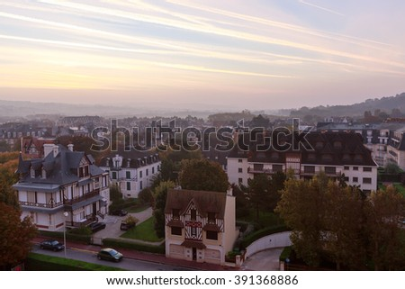 Deauville, France - October  10, 2015:  Street in the city of Deauville, Normandy, France - stock photo